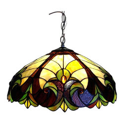 Chloe Lighting - Victorian Pendant Light in Antique Bronze - Note: Shade colors will appear darker and less vibrant when not illuminated.. The handcrafted nature of this product creates variations in color, size and design. If buying two of the same item, slight differences should be expected.. This stained glass product has been protected with mineral oil as part of the finishing process. Please use a soft dry cloth to remove any excess oil. . Due to the nature of stained-glass, colors may vary. Tiffany style. Takes two 60 watt bulbs. Hardwired. UL approved. Made from tiffany glass and antiques bronze metal chain. Assembly required. 18 in. W x 8.5 in. H (8 lbs.)This two light Tiffany style Victorian design pendant light with a bronze finish will compliment many decors through out your home. Colors will appear darker and less vibrant when not illuminated. This is for indoor use only.