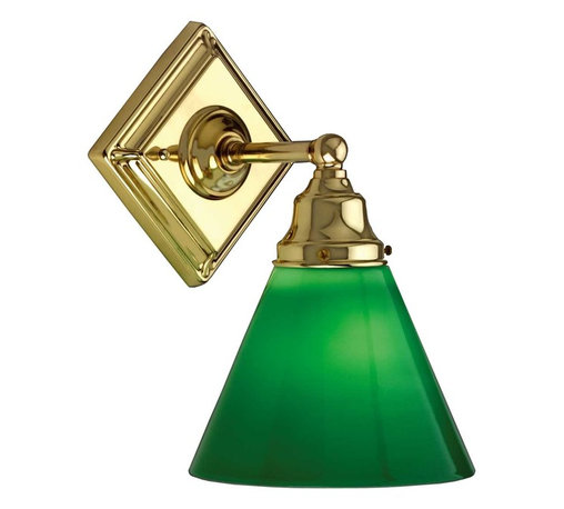 """Renovators Supply - Sconces Bright Brass Square Pan Wall Sconce w/Green Cone Shade - This wall light measures 10 1/2"""" high, projects 8"""" and has a 4 3/4"""" square ceiling pan."""