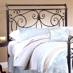 Hillsdale Furniture - Brady Headboard in Antique Bronze Finish (Ful - Choose Bed Size: Full/QueenFor residential use. Includes headboard and large glides. Free-flowing scrollwork and intricate castings. Slight sleigh silhouette. Glides in Brown finish. Queen: 72.5 in. L x 60.75 in. W x 57 in. H (68 lbs.). King: 72.5 in. L x 76.75 in. W x 57 in. H (82 lbs.)
