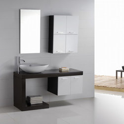"Aria - Modern Bathroom Vanity Set 55"" - The Aria is a contemporary bathroom vanity set that embraces the latest trend in luxury modern bathroom design. This elegant modern vanity design is perfect for a powder bath or guest bathroom."