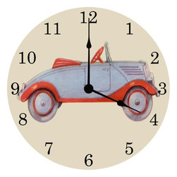 Vintage Artwork - Vintage Car Wall Clock - Vintage Car Wall Clock
