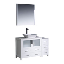 "Fresca - Fresca Torino 48"" Modern Bathroom Vanity w/ One Side Cabinet & Vessel Sink - Whi - Fresca is pleased to usher in a new age of customization with the introduction of its Torino line. The frosted glass panels of the doors balance out the sleek and modern lines of Torino, making it fit perfectly in either Town or Country dcor."