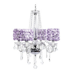 4 arm Middleton Chandelier with Lavender Rose Garden Drum Shades. - This beautiful 4 arm Middleton crystal chandelier features stunning lavender rose garden shades.