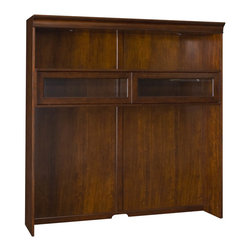 "Hammary - Brighton Entertainment Console Hutch - ""A beautiful collaboration of traditional & modern ideas, designs & functionality influenced this transitional collection. Crafted of Poplar Solids, Highly Figured & Cathedral Walnut Veneers in a Dark Mocha Brown finish with Polished Nickel finished hardware"