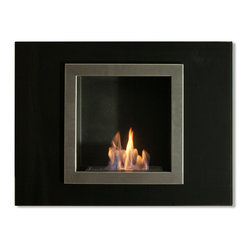 "Ignis Products - Villa Mini Wall Mounted Ventless Ethanol Fireplace - Lend stylish flair and contemporary charm to your space with this Villa Mini Recessed Ventless Ethanol Fireplace. This classy fireplace has the features you really want without the mess and fuss of a traditional fireplace, and minus the need to install lines or even have a chimney. This fireplace features a sleek stainless steel inner frame and a black glass outer frame. It comes with a 1.5-liter ethanol burner that sits inside to add warmth and inviting beauty to any room. Each refill burns up to five hours, so you can set it and forget it while you entertain before an open flame. Dimensions: 31.5"" x 23.6"" x 6.5"". Features: Black glass outer frame. Easy Installation - Mounts directly on the wall (mounting brackets included). Ventless - no chimney, no gas or electric lines required. Easy or no maintenance required. Capacity: 1.5 Liter. Approximate burn time - 5 hours per refill. Approximate BTU output - 6000."
