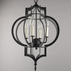 Antique Iron Art and 4 Candles Chandelier -