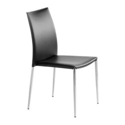 Nuevoliving - Nuevo Living Eisner Dining Chair - Black - Convenient, contemporary and comfortable. This stackable armless dining chair puts a different spin on elegant seating. Steel frame is perfectly suited for years of dependable performance.