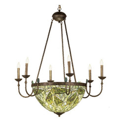 """Meyda Tiffany - 35""""W Lotus Bud 6 Arm Inverted Chandelier - Bands of hieroglyphs and hawks, finished in Mahogany Bronze, accent shades of Nile Green and Oasis Blue glass. Inspired by art and architecture of ancient Egypt, our and scarab adorned six light chandelier emulates treasures of the Pharos."""