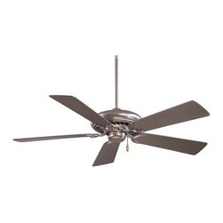 "Minka Aire - 52"" Supra 5 Blade Ceiling Fan - In multiple finishes, the Supra 52' offers decorative versatility. It has clean, modern styling and uncompromising quality with superior performance. Energy Star compliance means it will impress in both appearance and energy conservation. Features: -Ceiling fan.-14 Degree blade pitch.-Five blades.-Quick connect detachable switch cup.-Universal light kit adaptable (sold separately).-Energy star compliant.-Motor size: 188 mm x 15 mm.-RPM high is 181, low is 54.-Supra collection.-NOTE: Ceiling Fans are not universal. Warranty is void if products from two different manufacturers are combined.Energy Guide Information:.-Collection: Supra.-Distressed: No.Specifications: -Product Air Flow: 5995.05 Cubic Feet Per Minute.-Electrical Usage: 75.3 Watts.-Air Flow Efficiency: 79.62 Cubic Feet Per Minute Per Watt.Dimensions: -3.5' and 6' Downrods (uses 0.75' I.D. DR5 series downrod).-80' Lead wire.-Hanging weight: 21 lbs.-Overall dimensions: 13' - 15.5' H x 52' W, depending on downrod.-Overall Product Weight: 25 lbs..Warranty: -Limited lifetime warranty."