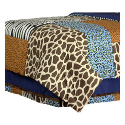 """Jazzie Jungle Boy - Full Bed Skirt - Bring out the animal in you with """"One Grace Place"""" Jazzie Jungle Boy collection. Bed skirt is designed with navy cotton fabric and trimmed in all the """"animal"""" prints available in this collection.  You can't go wrong with anything this collection has to offer!"""