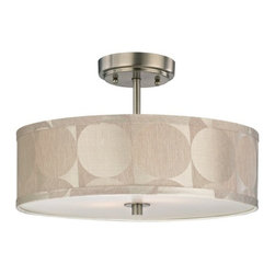 Design Classics Lighting - Drum Ceiling Light with Silver Shade - 16-Inches Wide - DCL 6543-09 SH9471 - Satin nickel semi-flush ceiling light with silver deco drum lamp shade and off-white acrylic diffuser. The drum shade measures 16-inches wide. Takes (3) 100-watt incandescent A19 bulb(s). Bulb(s) sold separately. UL listed. Dry location rated.