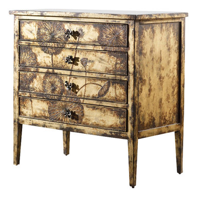 Hooker Furniture - Melange Cache Chest - Inspired by artwork seen in Hong Kong, the matte gold finish and touch-me texture of the cache chest makes it completely captivating.  Four drawers.  Each chest ships with two hardware options (decorative pulls or painted wood knobs).