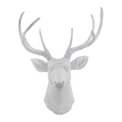 Zeckos - 8 Point Buck Deer Head Bust Wall Hanging White - This awesome, cold cast resin replica 8 point buck wall mount is a perfect addition to any room with a masculine theme. The head measures 23 inches tall, 16 inches wide and 8 1/2 inches deep. The detail is incredible, down to the hand painted eyes. This deer head is Brand New, and makes a great gift for any hunting fan or nature lover. The antlers are removable to save space in shipping.
