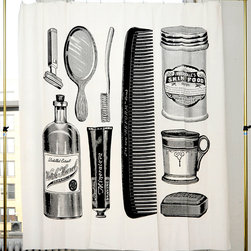 Apothecary Shower Curtain - So you love the apothecary style and want everyone to know it? This fun shower curtain features all the traditional grooming tools in an updated, graphic way.