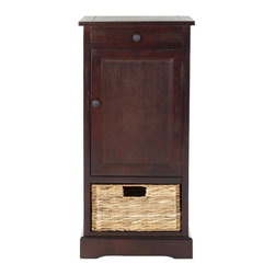 Safavieh - Chloe Storage Unit - Relaxed and casual, the Chloe storage unit in pine with dark cherry finish has an easygoing appeal that's perfect for a country casual style. With a roomy cabinet and one pull out woven rattan basket with cutout handle, Chloe makes stashing remotes, CDs and magazines a breeze.