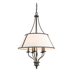 Kichler Lighting - Kichler Lighting 43340OZ Donington Traditional Classic Chandelier - Inspired by the historic estates of presidents past, this 5 light chandelier from the Donington collection is a unique interpretation of traditional Williamsburg style. Simple iron rope detailing and a rich, Olde Bronze™ finish accentuates the off-white fabric shades, creating a classic look that works with a variety of decorating schemes.