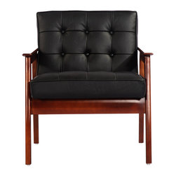 Kardiel - Kardiel Mies Mid-Century Modern Plank Armchair, Black Italian Leather - The Mies Plank Chair is crafted entirely by hand. The cold steel of the traditional design is set aside. The solid European Ash hardwood frame brings a natural, organic and warm feel to the Mies plank.  The wood elements introduce a Scandinavian theme to the mid century design.  As it is genuine hardwood the graining on no two chairs will be the same. Using traditional wood joinery and button tufting methods the chair construction is today as it was then.  The upholstery selected for the Kardiel reproduction is Genuine Italian leather. The throwback angle of the chair is specifically set to provide a comfortable lounging experience. This highly functional widely recognized chair is frequently used as an occasional seating chair in both casual and formal settings.