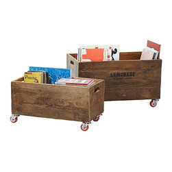 Serena & Lily - Rolling Storage Crates - When I am organizing, I find that I can't ever have too many bins, boxes and storage containers. These unique and attractive wood crates also come with bright orange casters and handles, making them easy to transport.