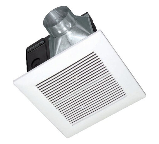 Panasonic - 80-CFM Exhaust Fan - FV-08VK3 - This bathroom exhaust fan produces only.3 sones of noise while achieving 80 cubic feet per minute of air flow. The housing is 10-7/8 inches square and 7-7/8 inches deep, while the grill is 13 inches square. Fits a 4-inch duct. Double hangar bars included for easy installation. Title 24 compliant. UL listed for tub/shower enclosure when used with GFCI branch circuit wire. Wet location rated.