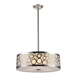 Elk Lighting - Elk Lighting 31025/3 Retrovia 3-Light Chandelier in Polished Nickel - 3-Light Chandelier in Polished Nickel belongs to Retrovia Collection by During The 1950S, There Was A Renewed Sense Of Style And Design From Consumer Products To Fashion And Beyond. This Design Movement Coined The Term ��_��_��_��_��_Mid-Century Modern��_��_��_��_��_ Which Became A Leading Design Movement. Finished In Polished Nickel, This Collection Embodies The Excitement Of The Time Period With Laser Cut Circles, Opal Etched Cylindrical Glass, And A White Diffuser That Accents The Drum And Vanity Fixtures. Chandelier (1)