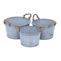 """Benzara - Metal Planter in Antique Finish - Set of 3 - Metal Planter in Antique Finish - Set of 3. Elegant and stylish, these this set of 3 planters adds a touch of nature to your indoor settings with this home decor piece which has a rich-looking antique finish. It comes with a following dimensions 14""""W x 14""""D x 8""""H. 12""""W x 12""""D x 8""""H. 11""""W x 11""""D x 7""""H."""