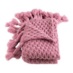 Woven Workz - Judy Dusty Rose Knitted Throw - Take this stylish throw to the bed, couch, porch - anywhere you want to kick back and relax. Its irresistable texture will add definition to any room. Fine quality knitted throw with a thick, hand-braided fringe.