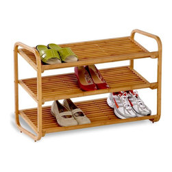 Honey Can Do - 3-Tier Deluxe Bamboo Shoe Shelf - Portable, stackable, convertible shelf. 30 in. W x 13 in. D x 20 in. H