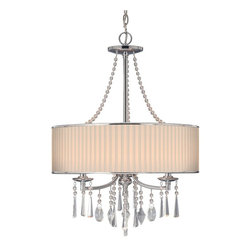Golden Lighting - Echelon BRI 3-Light Pendant - Bulbs not included. Requires three incandescent type B 60 watt candelabra base bulbs. Three E12 sockets. Total wattage: 180. Electric wire gauge: SPT-1.20288 18AWG 105 degree C. Transitional style. Geometric shaped sparkling beaded crystal drops. Bridal veil fabric shade. UL listed for dry location. Polished chrome color. Wire length: 10 ft.. Chain length: 6 ft.. Canopy extension: 1 in.. Canopy: 5 in. Dia.. Shade: 21 in. Dia. x 7 in. H. Overall: 21 in. Dia. x 32 in. H (7.48 lbs.). Warranty. Assembly Instructions