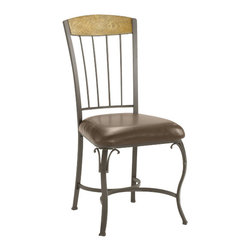 Hillsdale Furniture - Hillsdale Lakeview Side Chair with Wood Panel in Top (Set of 2) - Rustic textures and colors combine to create Hillsdale Furniture's Lakeview dining collection. Boasting a striking fusion of medium oak wood, coppery brown metal, and a dynamic slate inlay in the center of the table, this group also features many options to customize your own ensemble, from a wood top chair or baker rack to a slate topped chair or baker rack with a diamond motif and a rectangle rounded edge or round table. Boasting easy to maintain and versatile brown faux leather seats, a pretty scrolled chair, and a rounded table bases with corresponding slate accents. This unusual ensemble also includes a coordinating sideboard or wine bar and matching 360 degree swivel bar and counter stools. Composed of heavy gauge tubular steel, solid wood edges, climate controlled wood composites and veneers, this unique group is a perfect addition to your home.