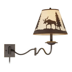 "Lamps Plus - Rustic - Lodge Yellowstone 18"" High Burnished Bronze Swing Arm Wall Lamp - The Yellowstone wall lamp features a contemporary wave shape arm in a traditional burnished bronze finish and a simple backplate that gives way to the eye-catching design. The empire shade is adorned with a bull moose in a peaceful forest setting making this exciting piece a perfect match for a rustic lodge decor project. The convenient swing arm design lets you place the light exactly where you need it. Swing arm style. Burnished bronze finish. Forest theme shade. Takes one 100-watt medium base bulb (not included). 18"" high. 12"" wide. 27 3/4"" deep.  Swing arm style.   Burnished bronze finish.   Forest theme shade.   Takes one 100-watt medium base bulb (not included).   18"" high.   12"" wide.   27 3/4"" deep."
