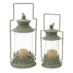 """Imax Worldwide Home - Luxlin Lanterns - Set of 2 - The set of two Luxlin lanterns have a finish reminiscent of copper verdigris and are topped with bird finials.;Features: Materials: 75% Metal, 25% Glass;Country of Origin: China;Weight: 5.06 lbs;Dimensions: 14.50-17""""h x 5.75-7.25""""w x 5.75-7.25"""""""