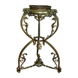 """Pre-owned Brass Dragon Plant Stand - A solid brass round plant stand with great detailing and dragon carvings throughout. The mouth of the plant insertion is 9"""".  This Asian style piece will make a lovely addition to any room in your home. The plant stand is in excellent condition."""