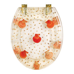 Renovators Supply - Toilet Seats Brass PVD Polymer Toilet Seat Sea Shells | 16962 - Sea Shells Toilet Seats: Made of High Grade Polymer this seat is designed for maximum strength and durability and does NOT yellow over time like most polymers. Cast within the seat the stabilizing bumpers prevent rocking and keep the seat safely in place. Oval, brass PVD hinges are tarnish resistant and fit standard hole spacing 5 1/2 inch on center and are adjustable but not recommended for adjusting on standard US toilets. May not be compatible with other brand name toilets. Seat measures: 16 7/8 inch x 14 1/2 inch Lid measures: 16 1/8 inch x 13 3/8 inch