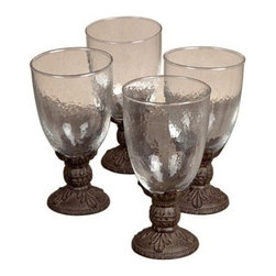 GG Collection - GG Collection | 16 oz Water Goblet |S/4 - 16 oz Water Goblet - set of 4 Water Goblet - Glass with Brown Metal Stem & Base - Set of 4 ~ Goblet,16 oz; 3.75in Dia x 7.75inH ~ Care: Handwash in mild soap and dry with a soft cloth