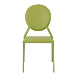 Isabella Green Leather Side Chair - These leather chairs would be great for luxe yet simple dining. Even better, they come in this gorgeous apple green color. I would add them to a dining area that gets daily use, as leather offers simple wipe-down cleaning.