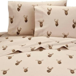 Kimlor Mills - Browning Whitetails Sheet Set - Create a rustic cabin look in your bedroom with the Browning Whitetails Sheet Set With a beautifully depicted collage of deer on a solid tan ground; the ultra-soft sheets are the perfect accents to the Browning Whitetails Comforter Set.