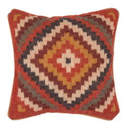 Jaipur Rugs - Bedouin Gobi Pillows Set of 2 - The color combination of rust-red, off-white and gray-blue in this eclectic pillow feels inspired. It would make a great jumping-off point for designing any room in your house.