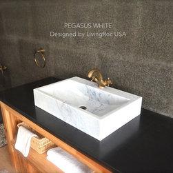 "WHITE MARBLE BATHROOM VESSEL SINK PEGASUS WHITE 23""x15""x4 + FAUCET HOLE - Reference: BB514EW-US"