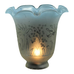 Meyda Tiffany - 5.5 in. Round Ruffle Frost and Blue Etched Re - Victorian Floral Country theme. 5.5 in. Dia. x 4.75 in. H
