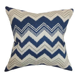 "The Pillow Collection - Quirindi Zigzag Pillow Birch - Bring a funky twist to your room by sprucing it up with this zigzag throw pillow. This accent pillow features a fun print pattern in shades of blue, birch and natural. This decor pillow is crafted from high-quality materials. This square pillow guarantee to bring comfort with its 100% soft cotton fabric. Top off your bed or toss this 18"" pillow on the floor for added style. Hidden zipper closure for easy cover removal.  Knife edge finish on all four sides.  Reversible pillow with the same fabric on the back side.  Spot cleaning suggested."