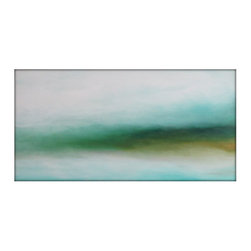 Large Abstract Landscape Painting on Canvas Modern Acrylic Skyline- 30x48- White - Minimalist Abstract Sky Line Landscape Original Painting -Greens, Blues, Golden Yellows, Whites and more
