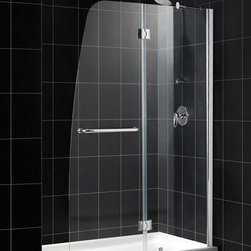 """Dreamline - Aqua Frameless Hinged Shower Door & SlimLine 30"""" x 60"""" Single Threshold Base - A shower kit from DreamLine delivers a complete solution for a bathroom remodel or tub-to-shower conversion project. This kit combines an AQUA shower door with a coordinating SlimLine shower base. The AQUA shower door stands out with a striking curved silhouette, while the full length wall profile provides an easy installation. A SlimLine shower base completes the transformation with a modern low profile design."""