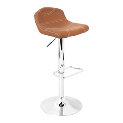 "Lumisource - League Bar Stool, Tan W/ Tan Stitching - 15"" L x 15"" W x 29.5 - 38"" H"