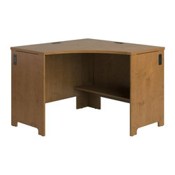 Bush Business - Bush Envoy Corner Desk in Natural Cherry Fini - Durable thermally-fused laminate work surfaces. Finished approach side allows placement in the middle of a room. Integrated four port USB hub. Shelf under work surface can be used for additional storage. Three wire management grommets with cable covers. CableQues underneath desk keep wires organized. Warranty: 6 years. Made from furniture grade particle board. Minimal assembly required. 42.01 in. W x 42.01 in. D x 30.2 in. H (105 lbs.). Installation GuideProfessional-grade envoy offers a contemporary flair for today's office. With the highly configurable Envoy collection, you can start with one desk, but still have freedom to expand easily and efficiently as your needs change.
