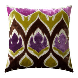 """Adam & Viktoria - Adam & Viktoria Tulipa Rich Brown and Violet Pillow - A cavalcade of gorgeous color, the Tulipa pillow mixes stylized floral and funky texture in a fabric work of modern art. This Adam and Viktoria design infuses contemporary or transitional home decor with spunk and moxie. 18.5"""" x 18.5""""; Linen with embroidered velvet; Rich brown, violet, green and lilac; Hidden zipper closure; 20"""" x 20"""" down feather pillow insert included; Dry clean only"""
