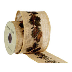 Silk Plants Direct - Silk Plants Direct Pine Cone Embroidered Burlap Ribbon (Pack of 6) - Silk Plants Direct specializes in manufacturing, design and supply of the most life-like, premium quality artificial plants, trees, flowers, arrangements, topiaries and containers for home, office and commercial use. Our Pine Cone Embroidered Burlap Ribbon includes the following: