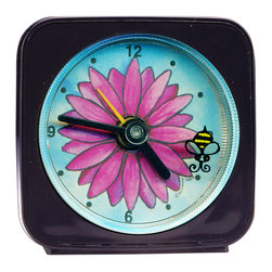 Flower/Bee Alarm Clock - Great for kids or adults, our designs can't help but make you smile. On our Flower Alarm Clock, a bee flies around the edge of the clock as it counts the seconds. Each alarm clock comes in a gift box and includes a free battery. Made in the USA. (Be sure to look for our flower themed magnets, nght lights and wall clocks, too!)