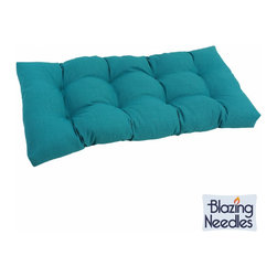 Blazing Needles - Blazing Needles Outdoor Spun Poly Loveseat Cushion - Add vibrant color to your outdoor patio furniture with this bright spun-polyester loveseat cushion from Blazing Needles. Perfect for outdoor use,this beautiful tufted cushion will lend comfort and style to your outdoor living space.