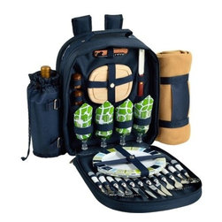 Picnic at Ascot - Picnic Backpack for Four with Blanket , Trellis Green by Picnic at Ascot - Our Picnic Backpack for Four with Blanket in Trellis Green by Picnic at Ascot is fully equipped with combination corkscrew, hardwood cutting board, cheese knife, wood salt & pepper shakers with non spill tops, acrylic wine glasses, melamine plates, stainless steel flatware, and napkins. With nickel hardware and white accents it also sports a conveniently detachable wine holder along with an acrylic blanket and carrier.