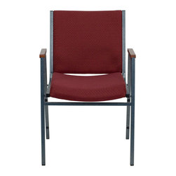 """Flash Furniture - HERCULES Series Heavy Duty, 3'' Thickly Padded, Burgundy Patterned Upholstered S - This functional stack chair can be used in a multitude of environments from small to large. The versatility of the chair makes it appropriate to use in the Church, Offices, and Training Rooms or in the Classroom or Home. The thick padded seat and back will keep users comfortable throughout the duration of the day. Not only is this chair comfortable, but it is very durable with its heavy duty frame with bumper guards that will prevent the finish on the frame from being scratched when stacked. So when in need of temporary or permanent seating this multi-purpose stack chair is sure to meet the needs for any venue.; Multi-Purpose Stacking Chair; Stacks 12 Chairs High; Burgundy Patterned Fabric Upholstery; Thick High Density Foam over .625"""" Thick Plywood Seat and Back; Cherry Capped Arms; Heavy Duty .75"""" Square Tubular Frame; 18-Gauge High Carbon Steel Frame; .625"""" Stretcher Bars in Front and Back provide Extra Support; Silver Vein Powder Coated Frame Finish; Plastic Bumper Guards; Plastic Floor Glides; Meets or Exceeds CA117 Fire Resistance Standards; Limited Lifetime Warranty on Frame; Assembly Required: No; Country of Origin: China; Warranty: 2 Years; Weight: 21 lbs.; Dimensions: 31""""H x 21""""W x 21""""D"""